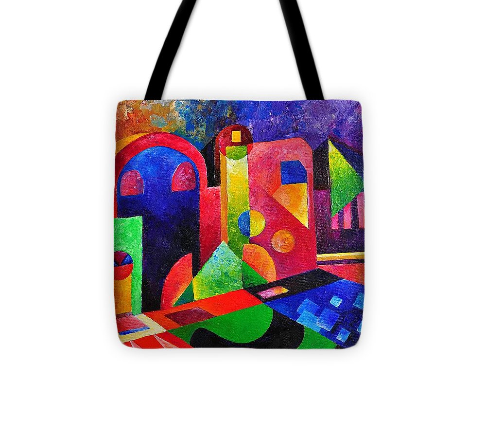 Colorful Little Village Oleo On Canvas Tote Bag featuring the painting Little Village By Sandralira by Sandra Lira