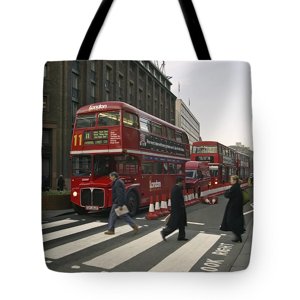 London Tote Bag featuring the photograph Liverpool Street Station Bus - London by Daniel Hagerman