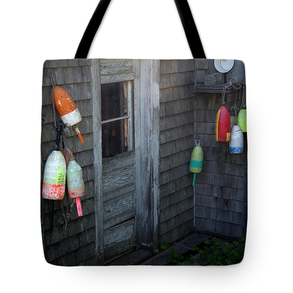 Portland Tote Bag featuring the photograph Lobsterman's House by Brenda Giasson