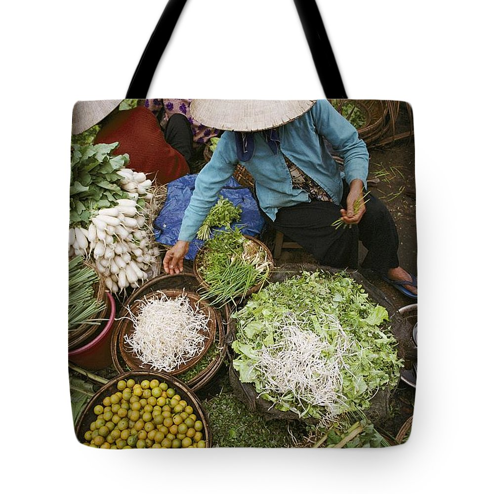 hoi An Tote Bag featuring the photograph Local Farmers Selling Their Crop by Steve Raymer