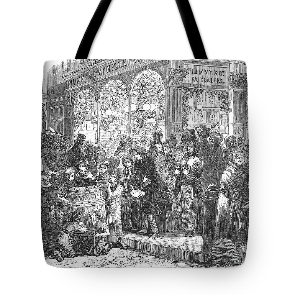 1866 Tote Bag featuring the photograph London: Christmas, 1866 by Granger