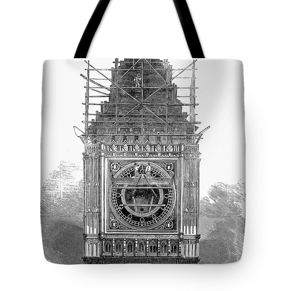 1856 Tote Bag featuring the photograph London: Clock Tower, 1856 by Granger