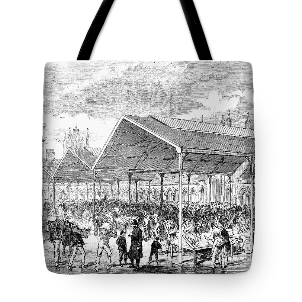 1870 Tote Bag featuring the photograph London: Fish Market, 1870 by Granger