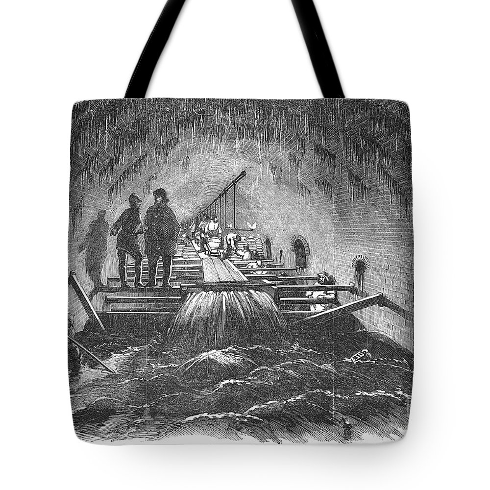 1854 Tote Bag featuring the photograph London: Fleet Street Sewer by Granger