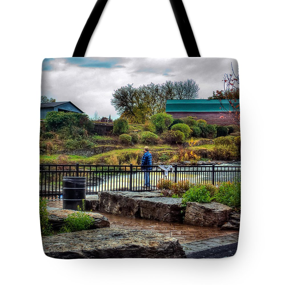 Xdop Tote Bag featuring the photograph Lone Fisherman by John Herzog