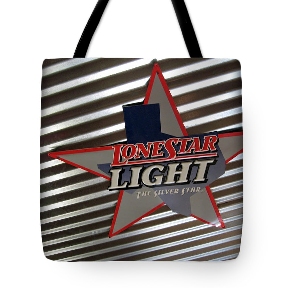 Beer Tote Bag featuring the photograph Lone Star Beer Light by Elizabeth Rose
