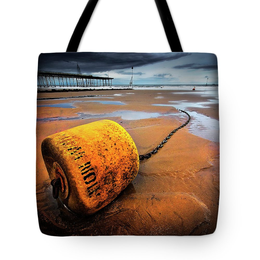 Buoy Tote Bag featuring the photograph Lonely Yellow Buoy by Meirion Matthias
