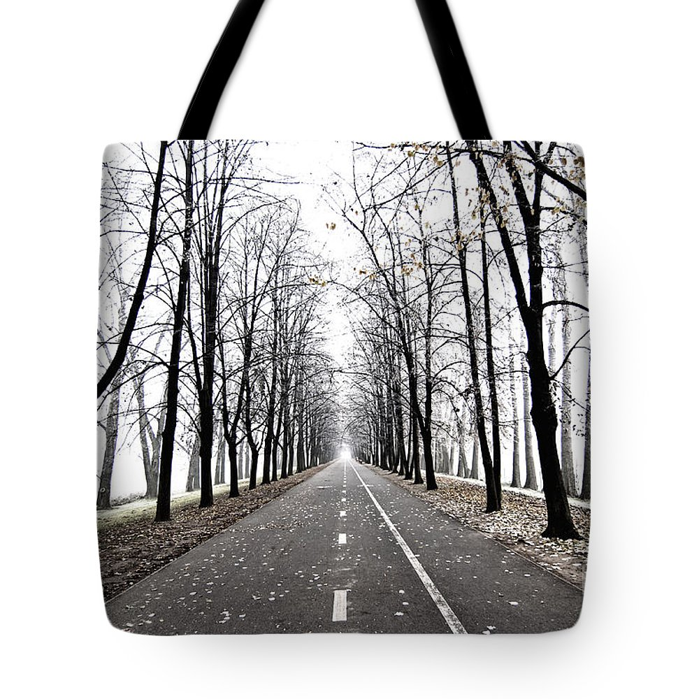 Graphic Tote Bag featuring the photograph Long Way by Michal Boubin