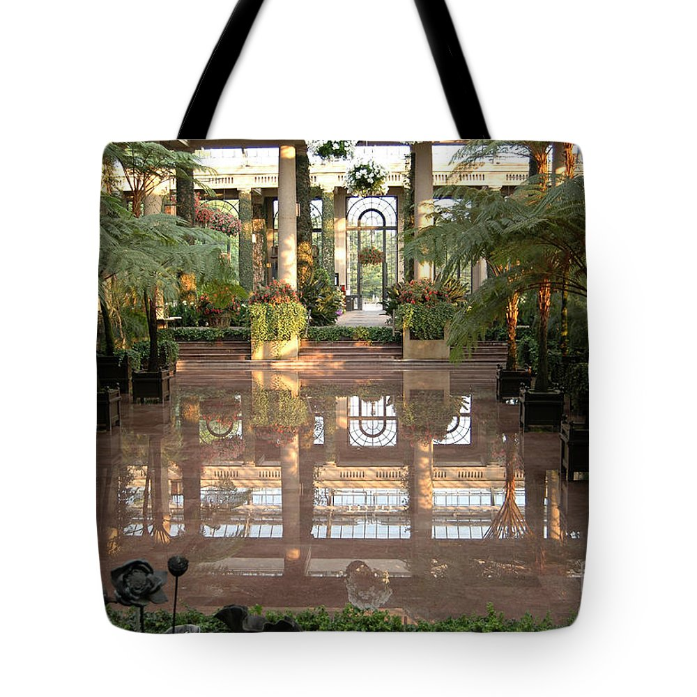 Indoor Garden Botanical Longwood Reflection Mirror Architecture Tote Bag featuring the photograph Longwood Gardens by Vilas Malankar