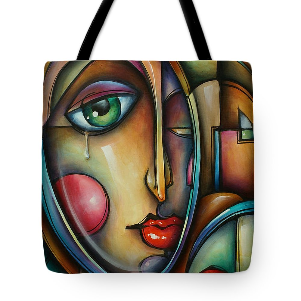 Urban Expressions Tote Bag featuring the painting Look Two by Michael Lang