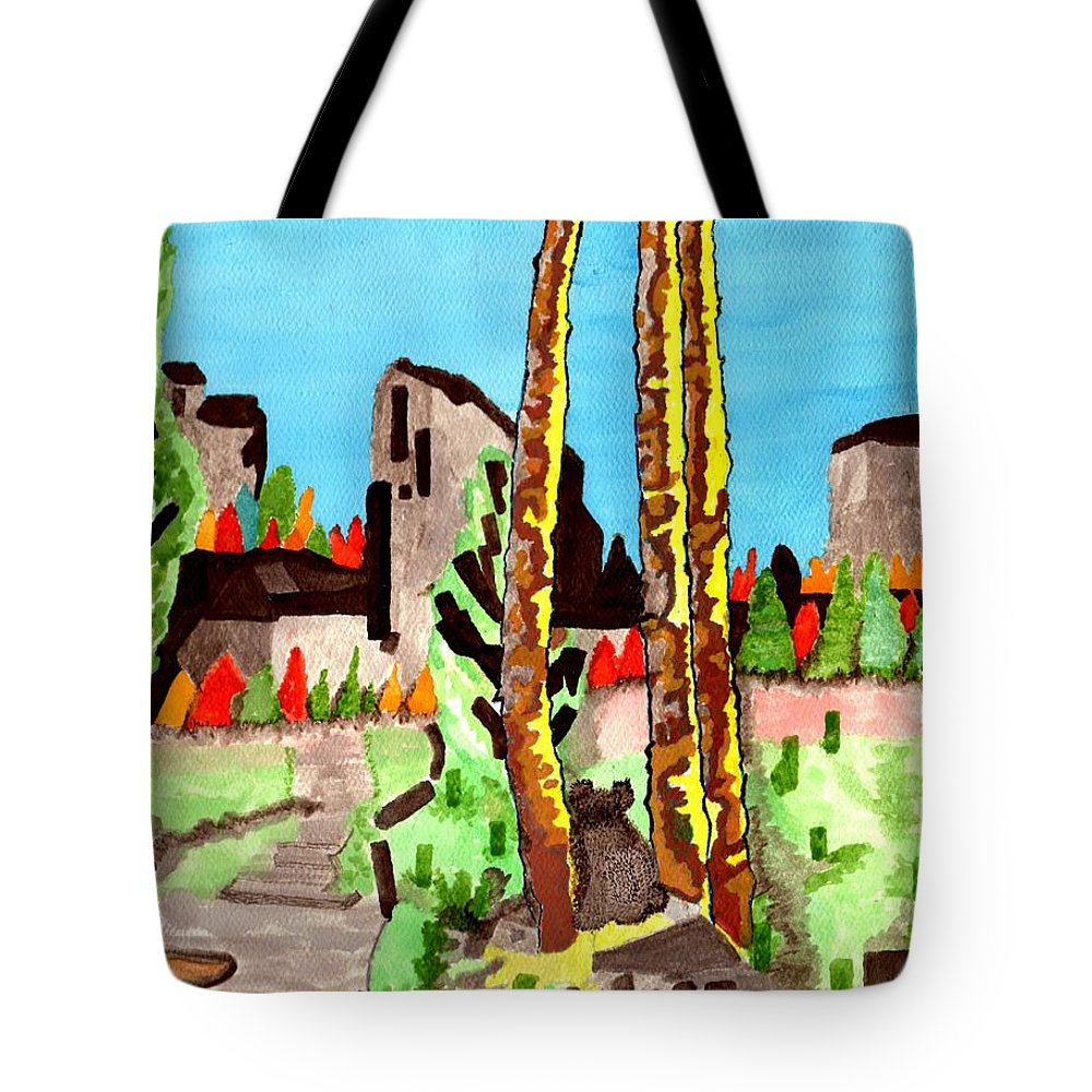 Landscape Tote Bag featuring the painting Looking At The Mountains by Connie Valasco