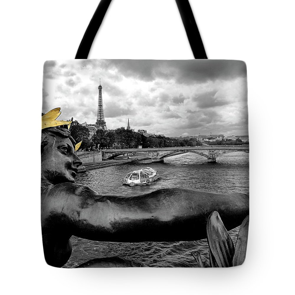 Paris Tote Bag featuring the photograph Looking Down The Seine by Dave Mills