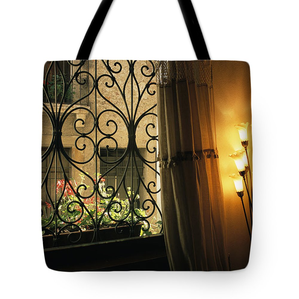 Europe Tote Bag featuring the photograph Looking Through Iron Filagree Window by Todd Gipstein