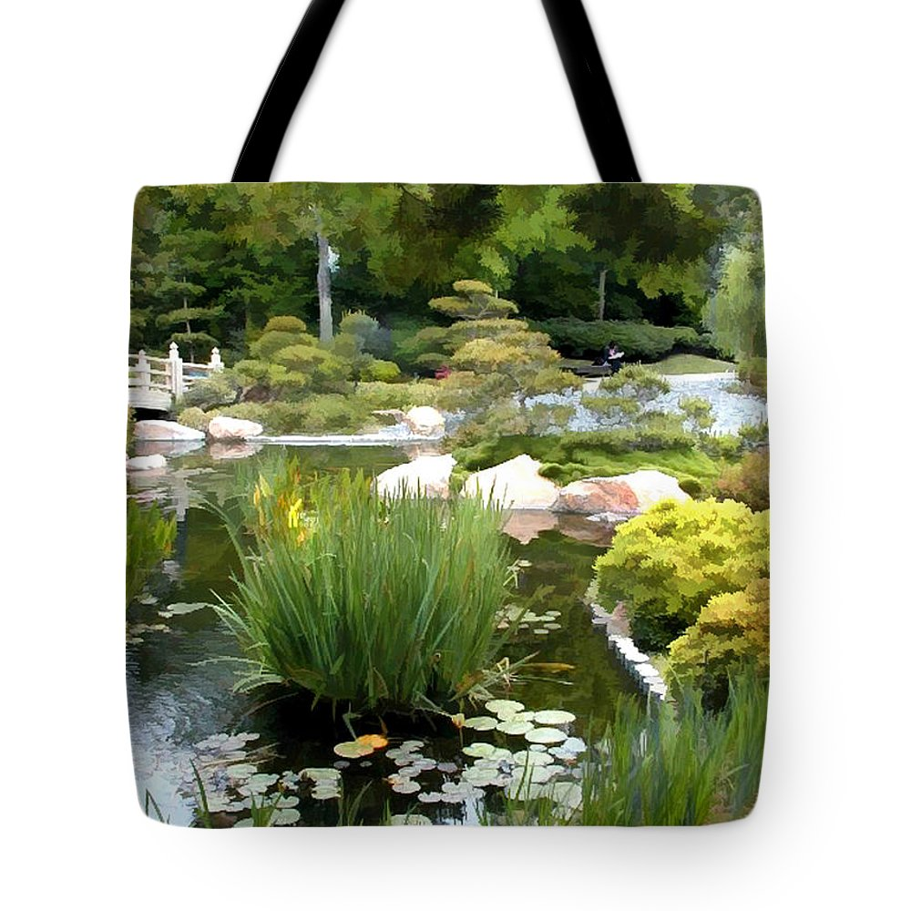 Japanese Garden Tote Bag featuring the painting Loop Around The Garden by Elaine Plesser