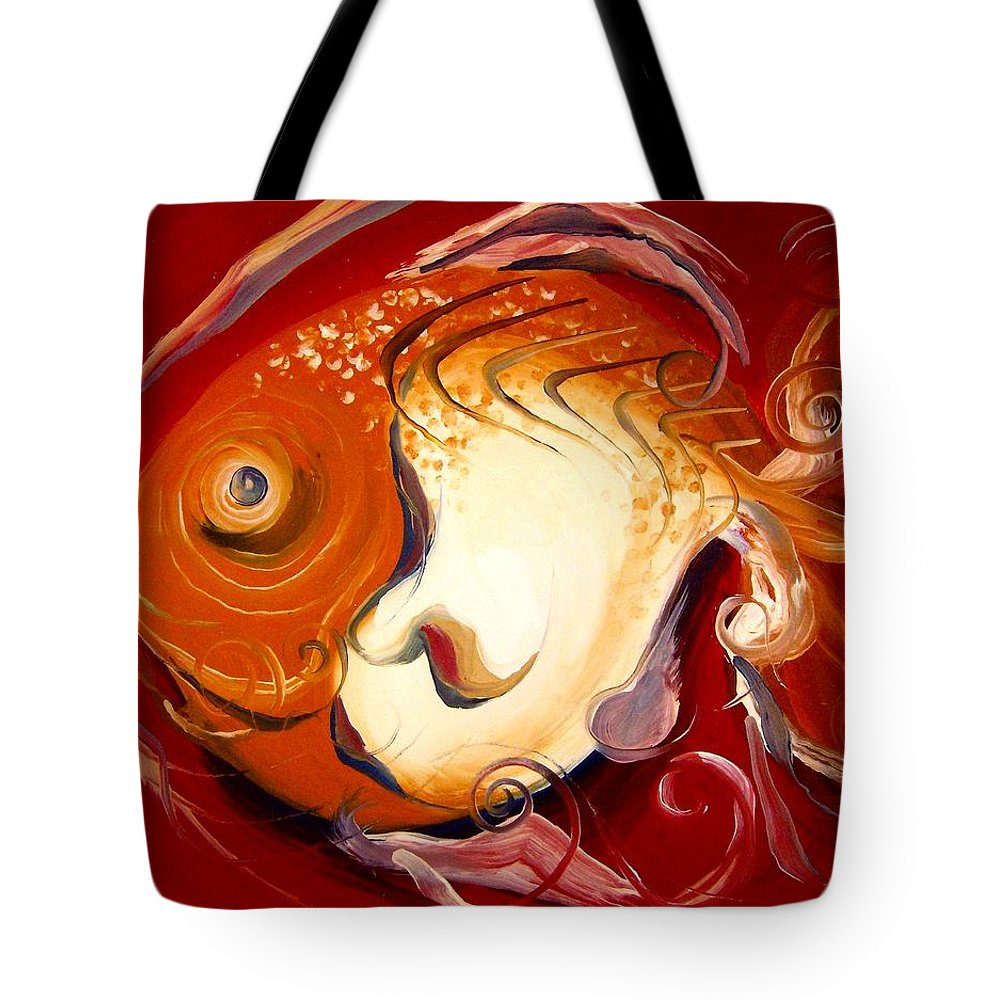 Fish Tote Bag featuring the painting Loose Goldfish by J Vincent Scarpace