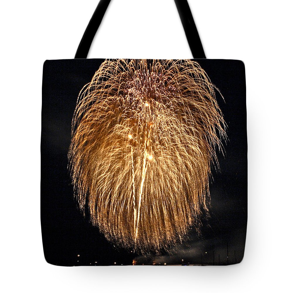4th Of July Tote Bag featuring the photograph Lopez Island Fireworks 1 by David Salter