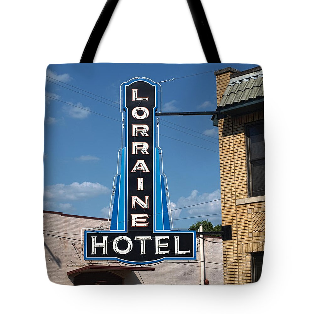 Memphis Tote Bag featuring the photograph Lorraine Hotel Sign by Joshua House