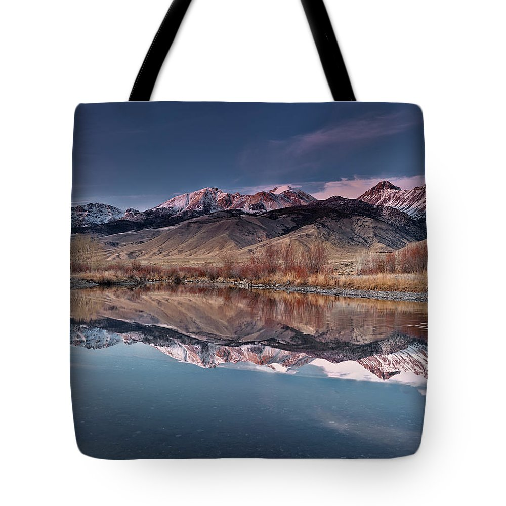 Idaho Scenics Tote Bag featuring the photograph Lost River Range Winter Reflection by Leland D Howard