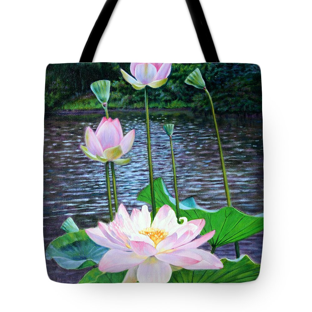 Lotus Tote Bag featuring the painting Lotus by John Lautermilch