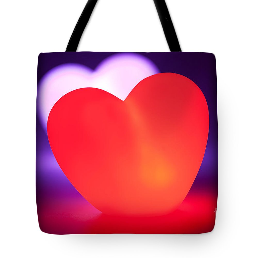 Heart Tote Bag featuring the photograph Love Heart Glowing Red by Simon Bratt Photography LRPS