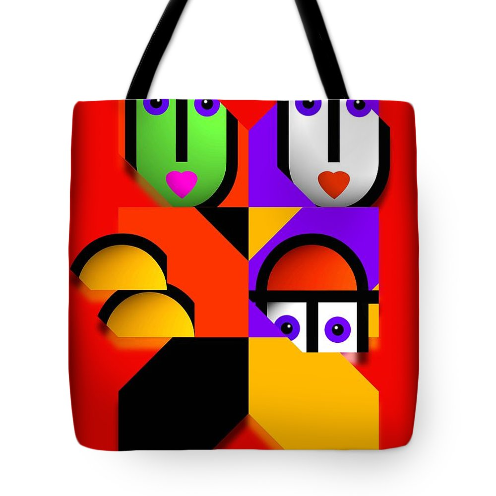 Pop Tote Bag featuring the painting Love Red by Charles Stuart