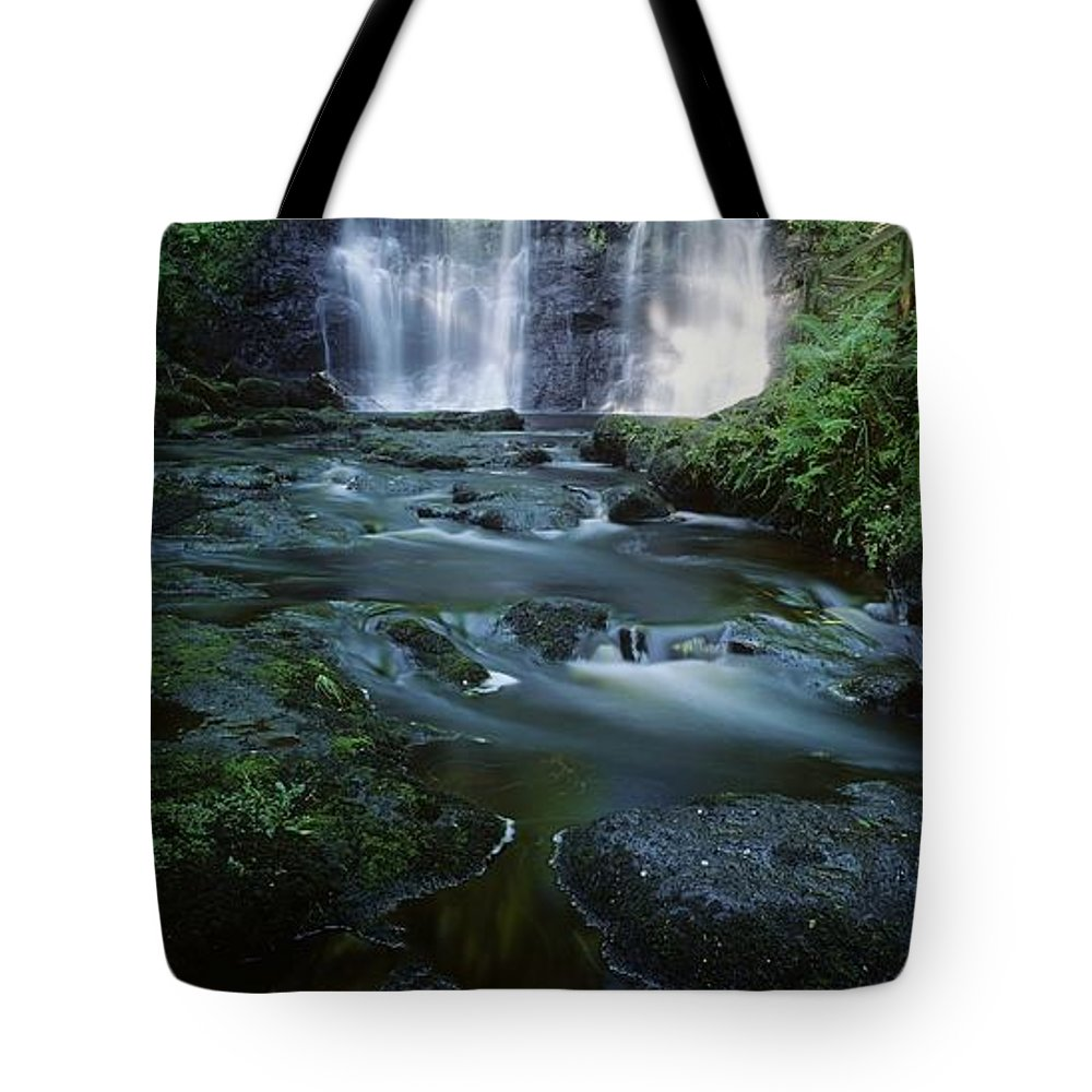 Color Image Tote Bag featuring the photograph Low Angle View Of A Waterfall by The Irish Image Collection