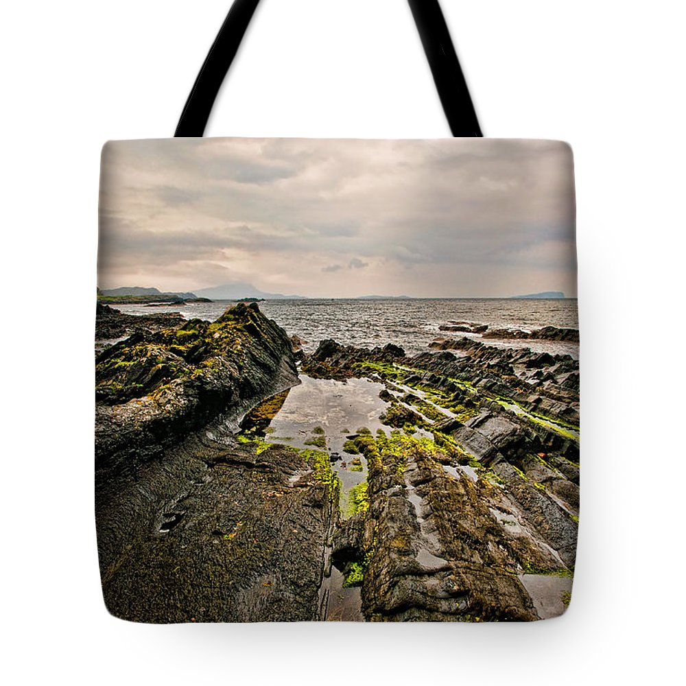 Low Tide Tote Bag featuring the photograph Low Tide Rocks by Chris Thaxter