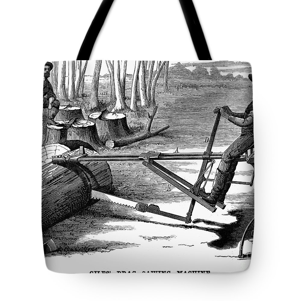1879 Tote Bag featuring the photograph Lumbering: Saw, 1879 by Granger