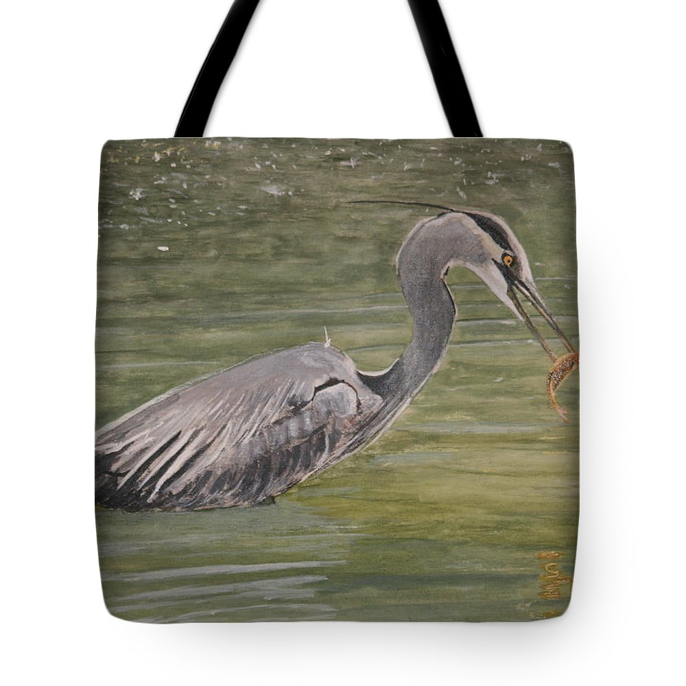 Heron Tote Bag featuring the painting Lunch by Betty-Anne McDonald