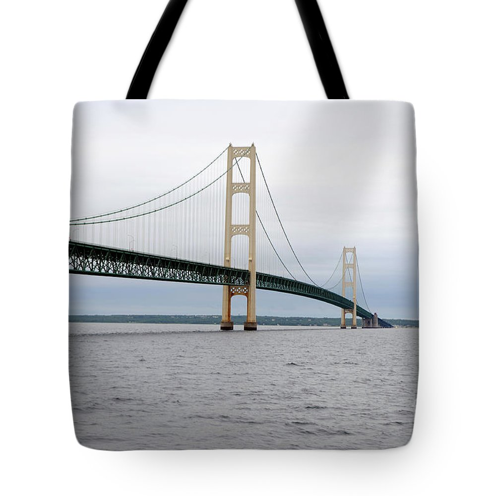 Bridge Tote Bag featuring the photograph Mackinac Bridge From Water 2 by Ronald Grogan