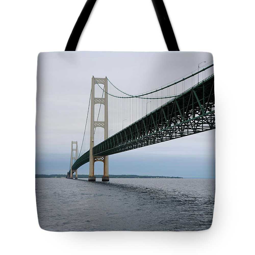 Bridge Tote Bag featuring the photograph Mackinac Bridge From Water by Ronald Grogan