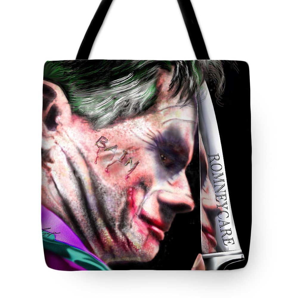 Mitt Romney Tote Bag featuring the painting Mad Men Series 2 Of 6 - Romney The Joker by Reggie Duffie
