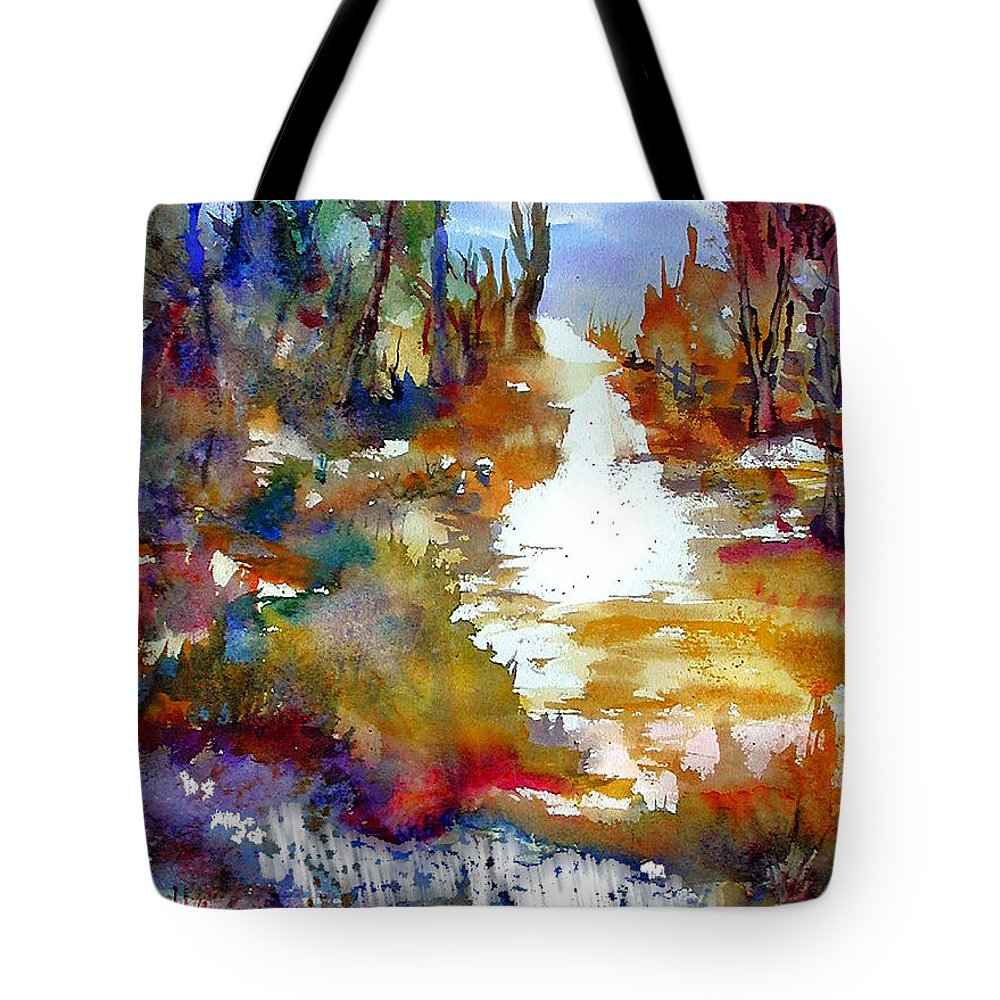 Abstract Tote Bag featuring the painting Magic Trail by John Mabry