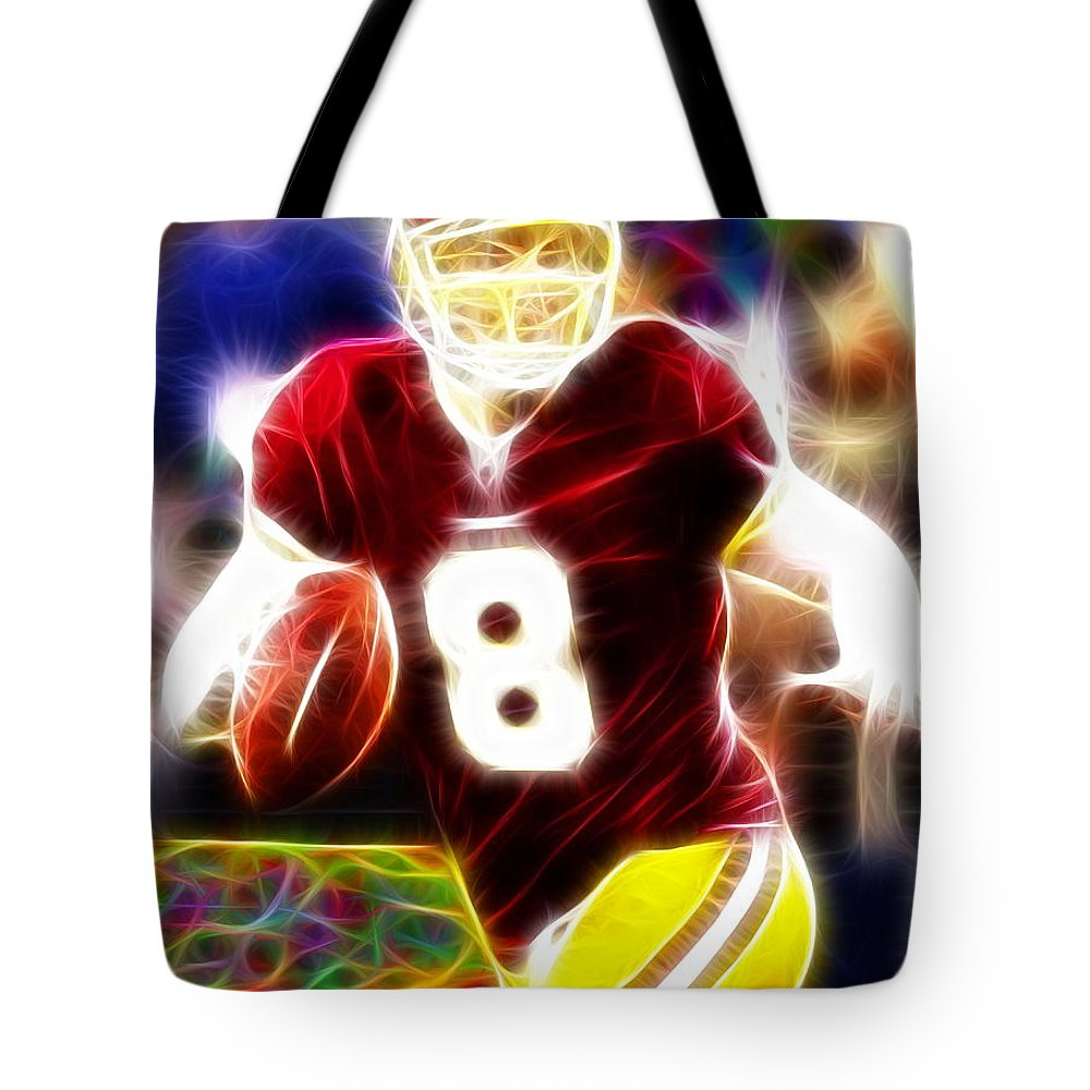 Washington Redskins Tote Bag featuring the drawing Magical Rex Grossman by Paul Van Scott