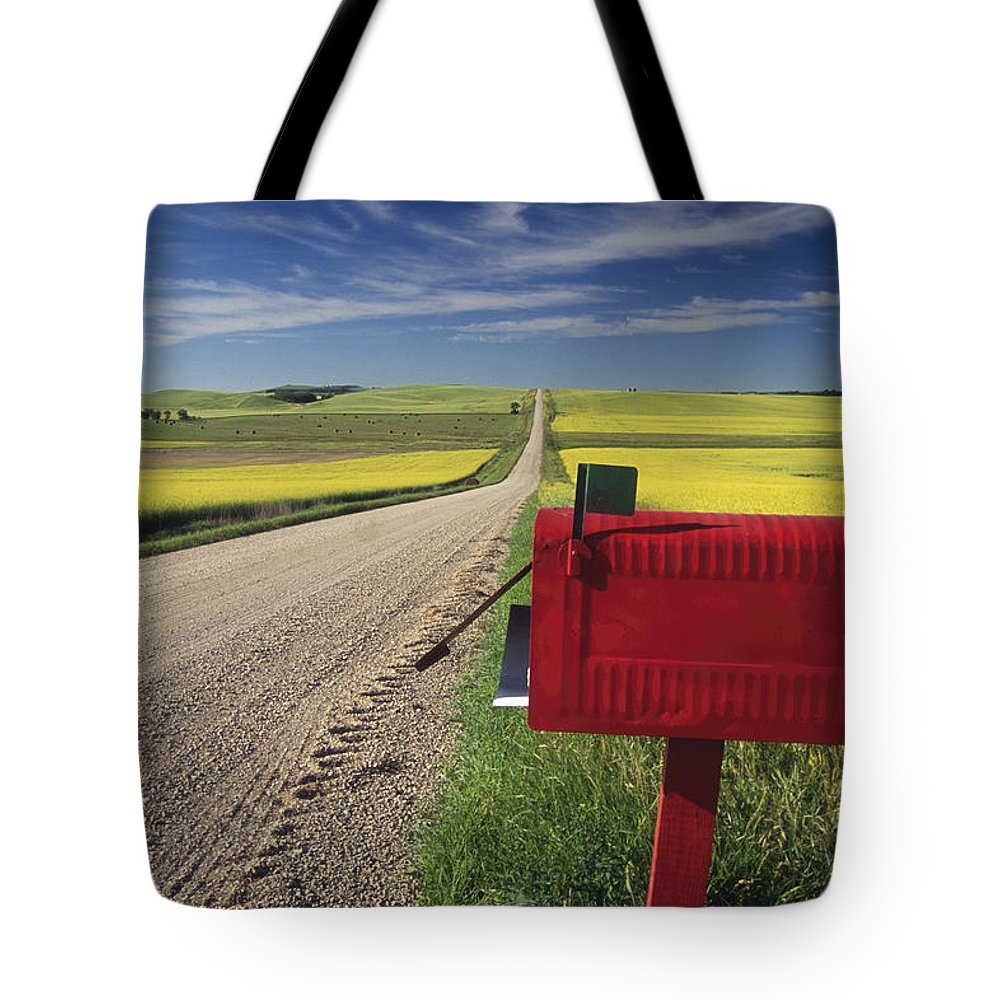 Country Road Tote Bag featuring the photograph Mailbox On Country Road, Tiger Hills by Dave Reede