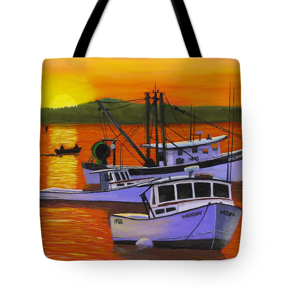 Maine Tote Bag featuring the painting Maine Fishing Boats At Sunset Port Clyde Painting by Keith Webber Jr
