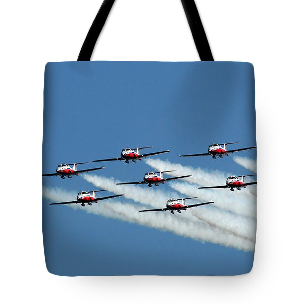 Snowbirds Tote Bag featuring the photograph Making An Entrance by Vivian Christopher