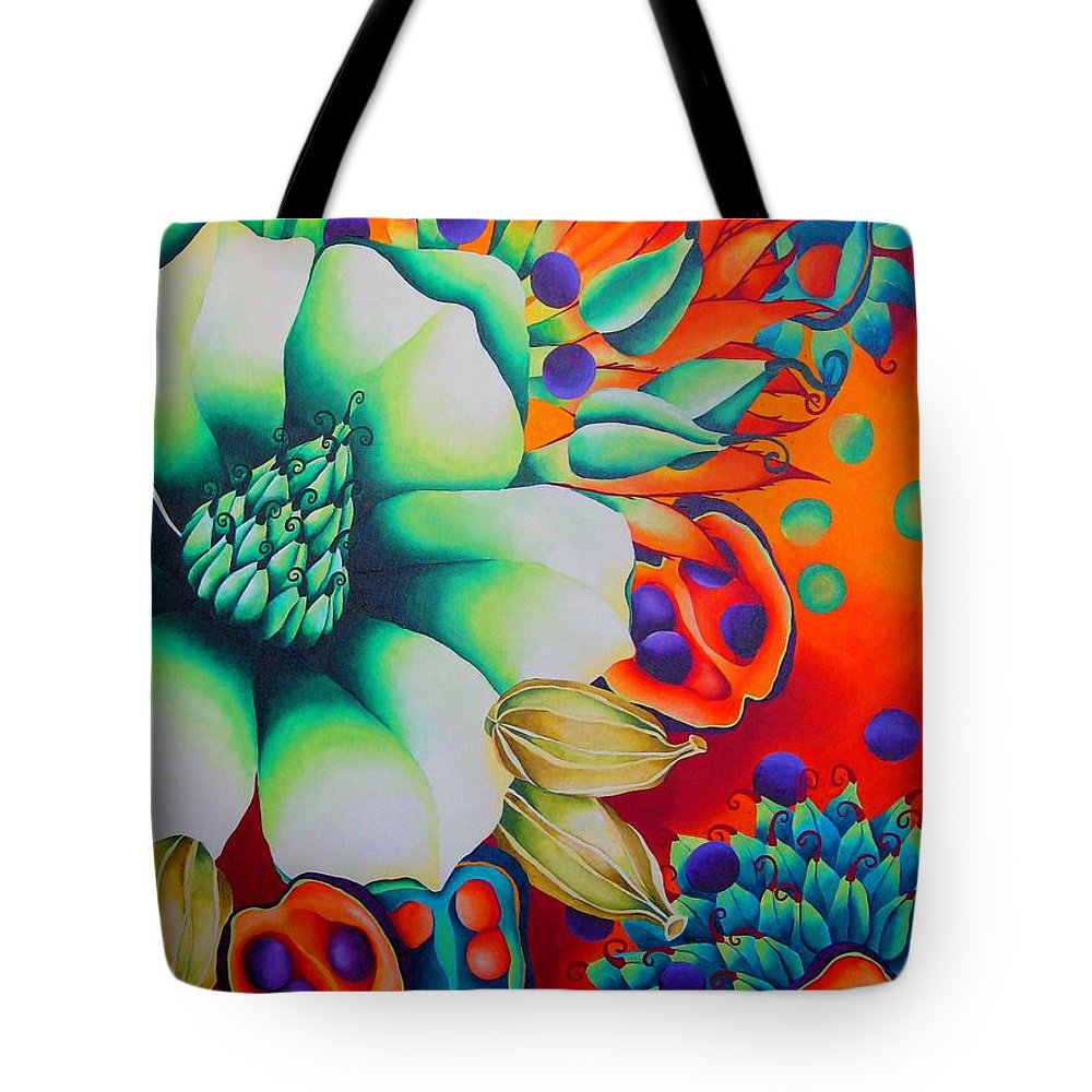 Magnolia Blossom Tote Bag featuring the painting Malabar by Elizabeth Elequin