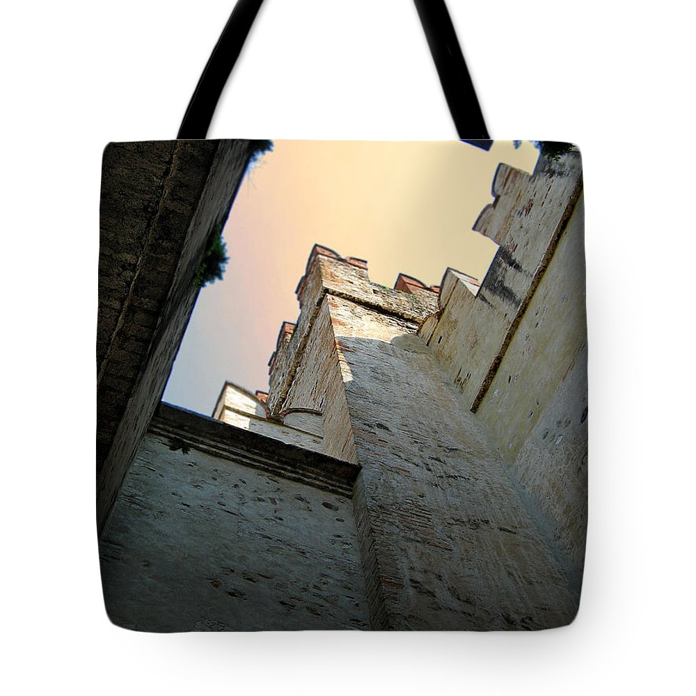 Malcesine Tote Bag featuring the photograph Malcesine Castle-lago Di Garda by Jennie Breeze