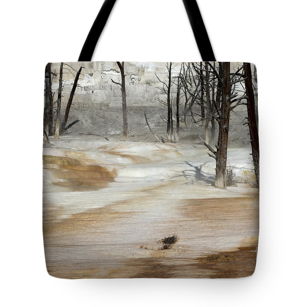 Yellowstone Tote Bag featuring the photograph Mammoth Terrace Runoff by Sandra Bronstein