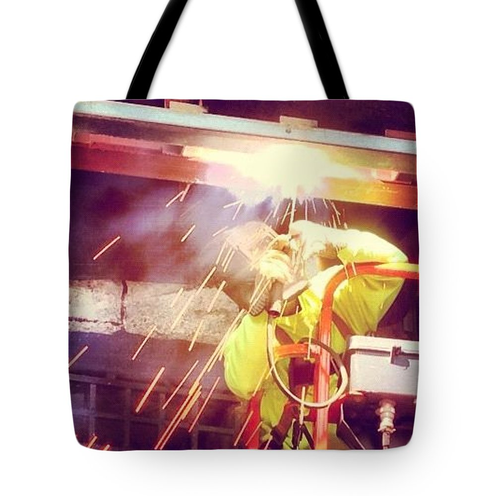 Instagram Tote Bag featuring the photograph Man Of Steel by Mark Valentine