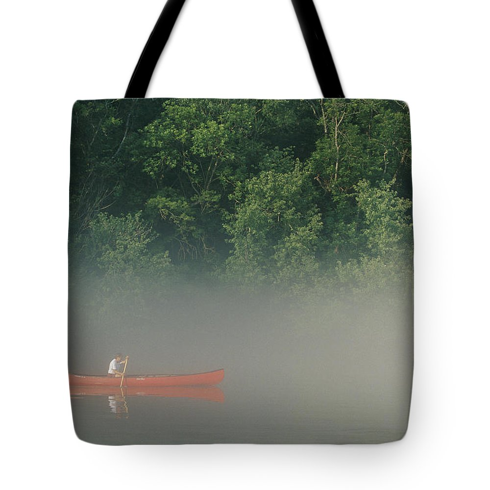 Sports Tote Bag featuring the photograph Man Paddling Canoe In Mist, Roanoke by Skip Brown