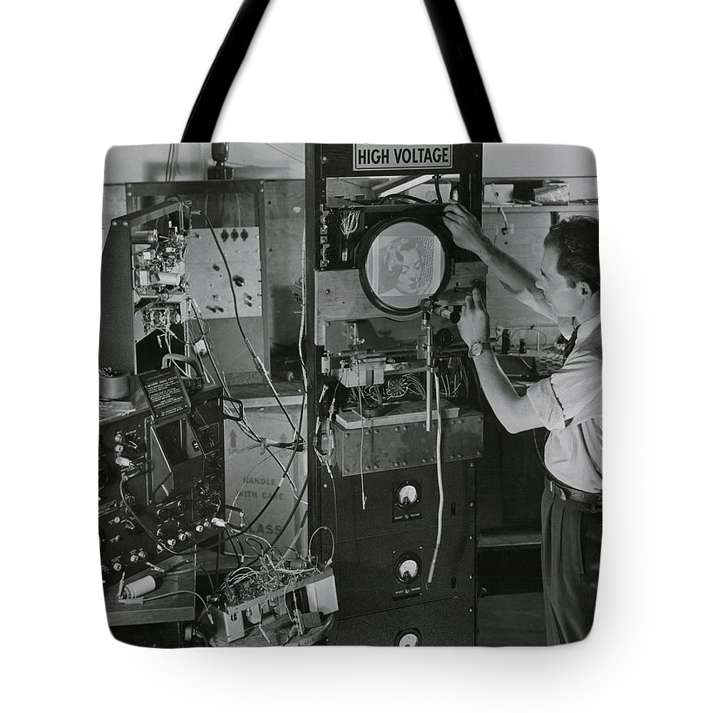 Day Tote Bag featuring the photograph Man Testing Early Television Equipment by Willard Culver