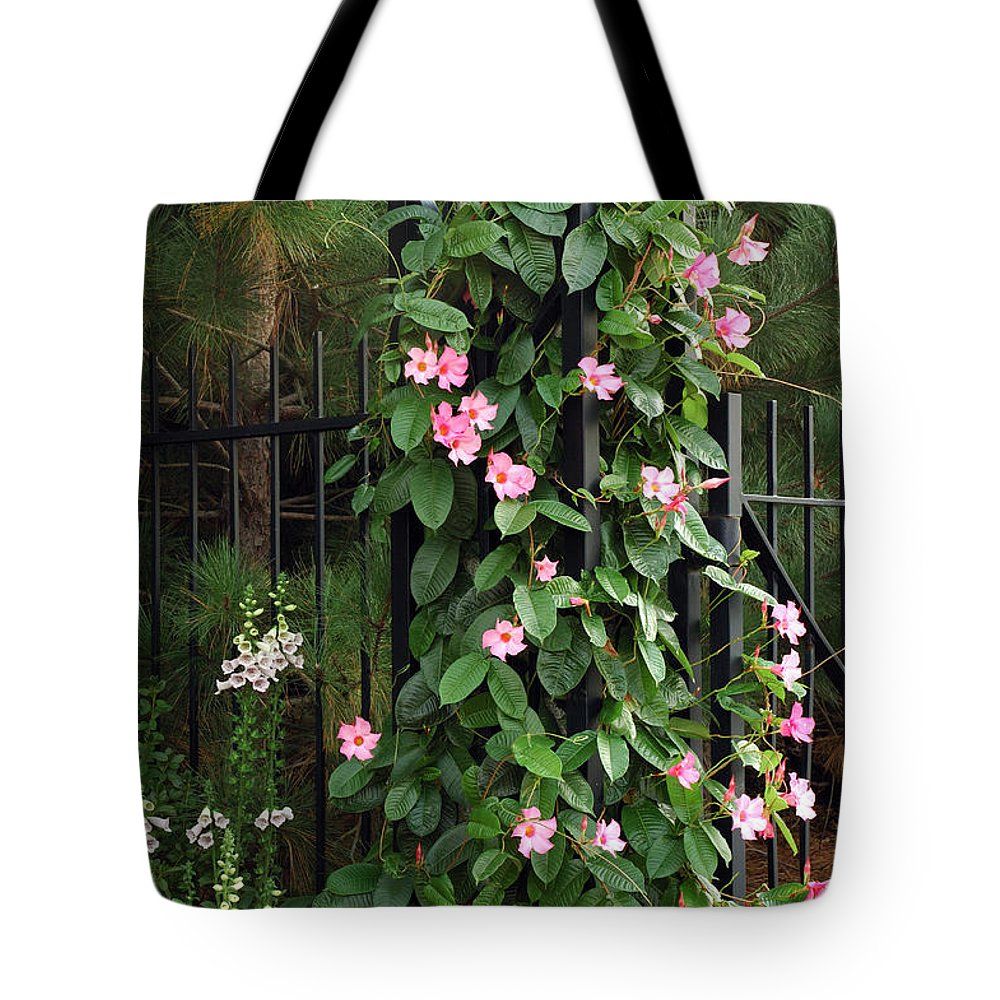 Mandevilla Vine With Pink Flowers Tote Bag For Sale By Darlyne A