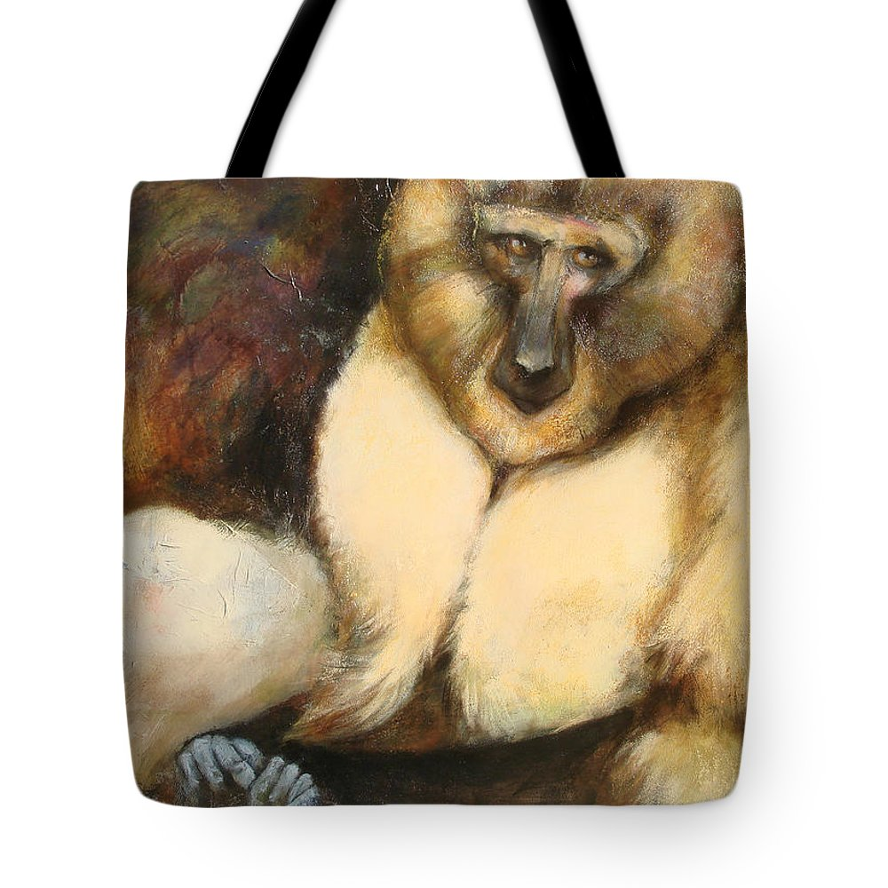 Primates Tote Bag featuring the painting Mangabay by Mo