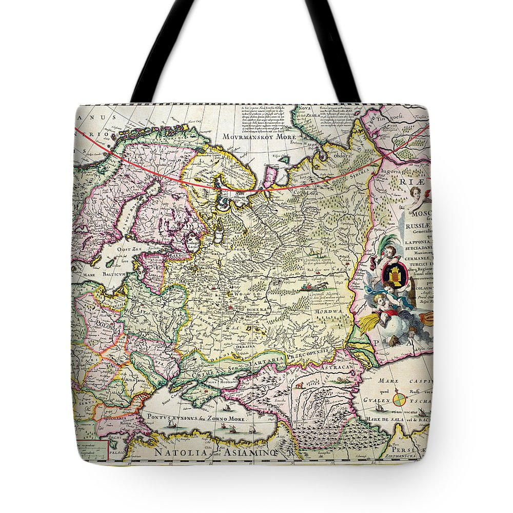 Maps Tote Bag featuring the drawing Map Of Asia Minor by Nicolaes Visscher