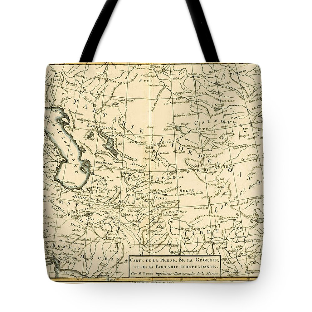 Maps Tote Bag featuring the painting Map Of Persia by Guillaume Raynal