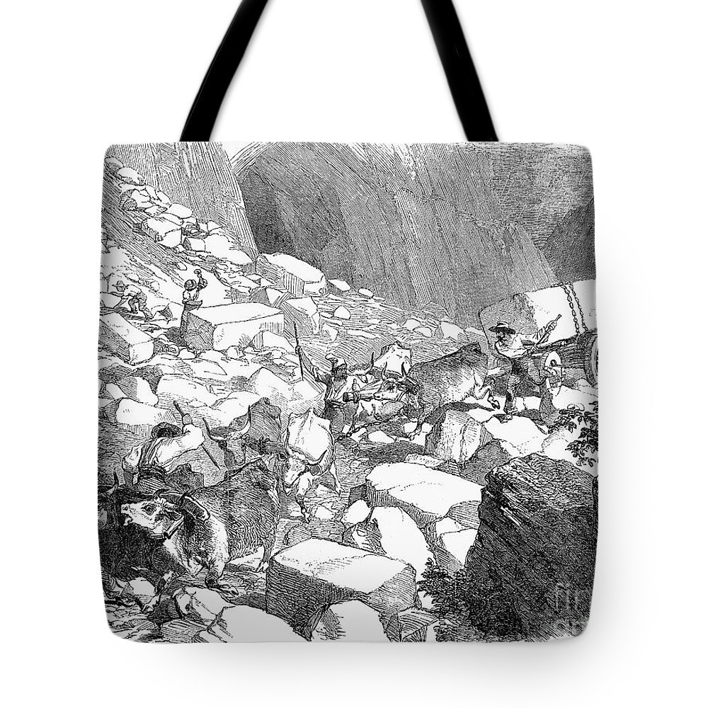 1852 Tote Bag featuring the photograph Marble: Quarry, 1852 by Granger