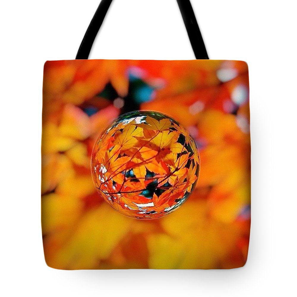 Fall Color Tote Bag featuring the photograph Marbled Orange Maple Leaves by Anna Porter