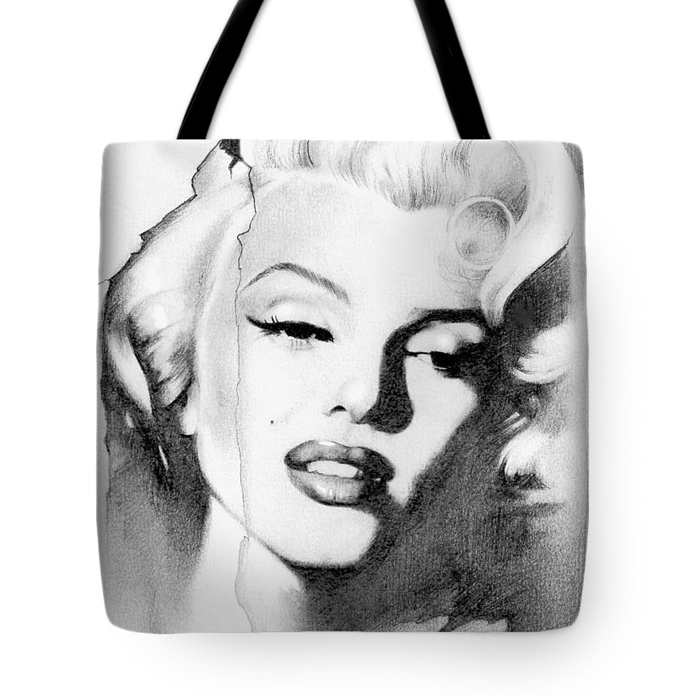 Lin Petershagen Tote Bag featuring the drawing Marilyn Monroe by Lin Petershagen
